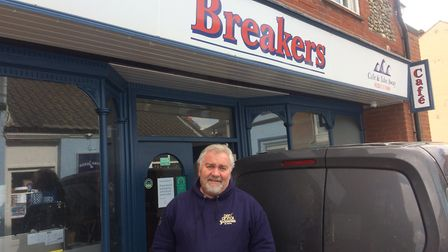 Martin Rodwell, owner of Cromer's Breakers Cafe, was one of the few people about on the narrow stree
