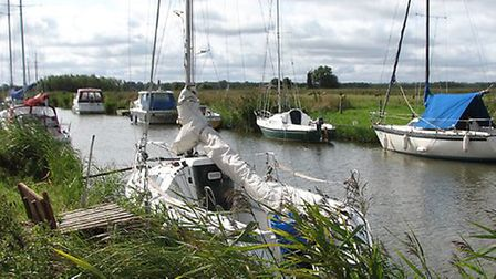 Boats moored at Oby on the River Bure. Picture: Evelyn Simak/Geograph
