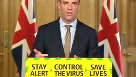 Foreign Secretary Dominic Raab during the coronavirus media briefing in Downing Street on May 18. Pi