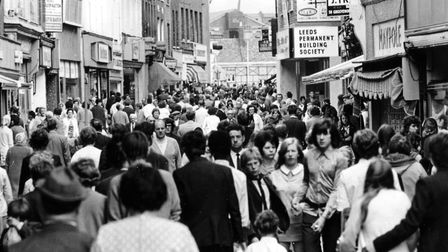 No social distancing in those days - shoppers pack into King's Lynn's newly-pedestrianised shopping