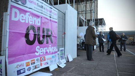 The Unison organised lobby at County Hall against cuts in adult social care services.Photo by Simon