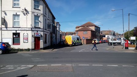 Armed police raided a property in Rodney Road, Great Yarmouth this morning. Photo: William John Reil