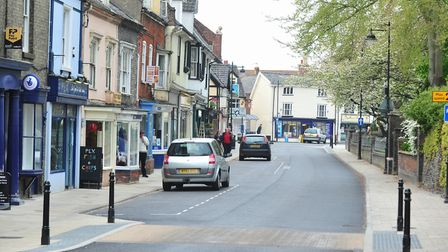 The Bungay one-way system which Oliver Elton drove up the wrong way. PIC: Nick Butcher.