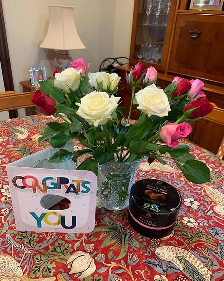Card, flowers and chocolates fromThe Black Boys in Aylsham (C) Barbara Higgins
