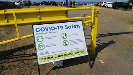 A sign at the cliff top car park at Hunstanton in Norfolk warns visitors about coronavirus Picture:
