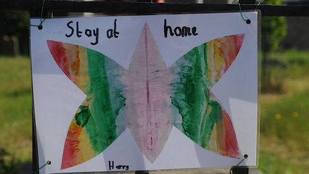 Messages from primary school pupils are displayed at the church at Brancaster in Norfolk. One asks