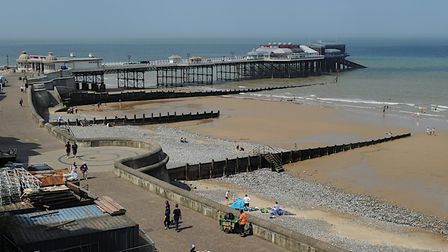 Just a handfull of sunseekers on Cromer's main beach during coronvirus restrictions. Picture: Chris