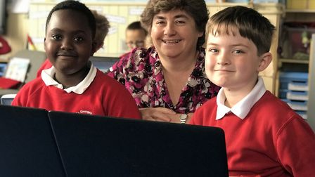 Mel Fearns, headteacher at St George's Primary School in Great Yarmouth, with pupils. Picture: Victo
