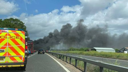 Pictures show a massive blaze, with smoke fumes rising near to the James Paget hospital. Photo: Trev