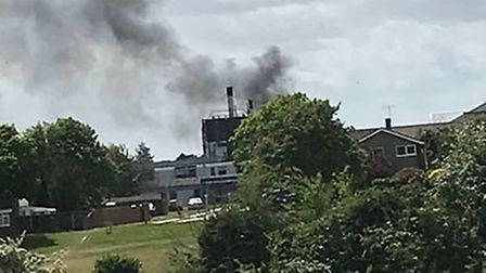Pictures show a massive blaze, with smoke fumes rising near to the James Paget hospital. Photo: Pter
