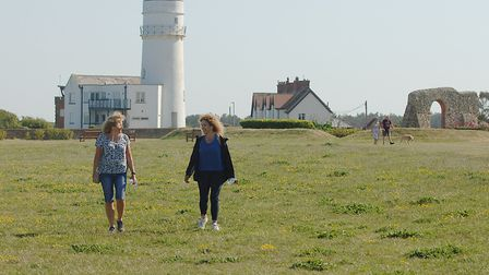 Sue Plater (l) and Amanda Goss on the cliff tops near Hunstanton Lighthouse Picture: Chris Bishop