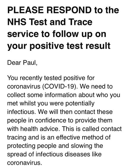 Typical contact message people will recieve from NHS Test and Trace as people with coronavirus have