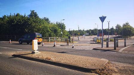 Travellers have left the park and ride in Costessey - but the site remains closed for cleaning. Pict