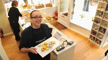 Tim Kinnaird in Macarons & More in the Royal Arcade in Norwich. Picture: Denise Bradley