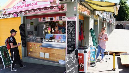 Julie Butcher at The Ice Cream Parlour is one of the very few stalls that are open at Norwich Market