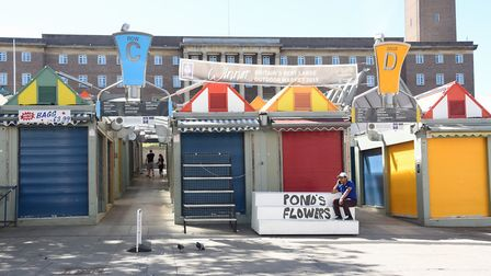 Norwich Market which has a few stalls open but fully opens with restrictions soon. Picture: DENISE