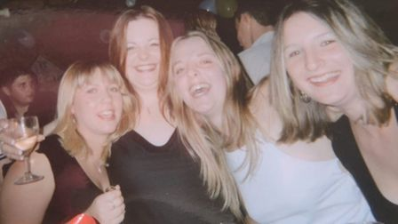 Jemma Thake, second from left, with best friends at her 21st birthday party at the Ark Royal pub in