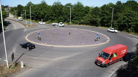 The A47 roundabout where there once stood a railway station at Gorleston, and where it is believed b