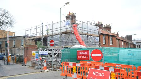 Work in progress to demolish the house in Finklegate that was damaged by subsidence.Photo by Simon F