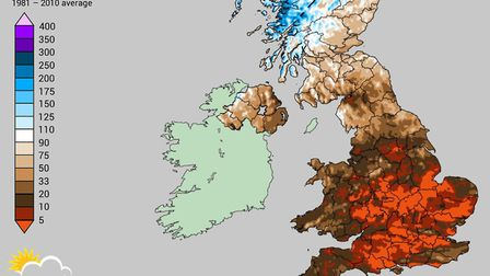 May 2020 was the driest and sunniest May on record in East Anglia. This map shows estimated May 2020