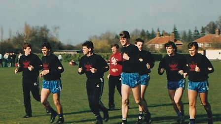 Manchester United players take part in a training session on the Memorial Playing Field, Hethersett