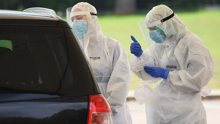 NHS staff at the drive-through coronavirus testing facility at the Norwich Research Park. Picture: D