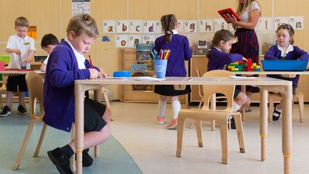 Pupils in taught in small group in class at Queen's Hill Primary School in Costessey. Picture: Joe G