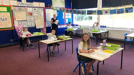 Year six pupils at St Williams Primary in Thorpe St Andrew at spaced apart desks. Picture: Sarah Shi