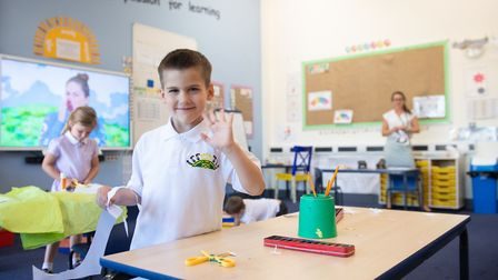 Reception pupil Danny in class at Queen's Hill Primary School in Costessey. Picture: Joe Giddens/PA