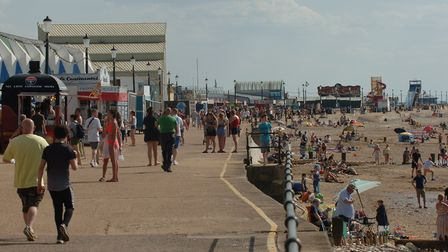 Crowds flock to Hunstanton on a sunny day. Visitors have been urged to observe social distancing Pic