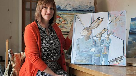 Docking-based artist Nicola Hart, who has produced a colage of three NHS worker hares to raise money