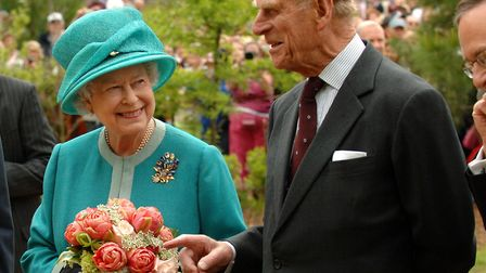 Queen Elizabeth II and the Duke of Edinburgh during a visit to the Fort settlement at Jamestown, Vir