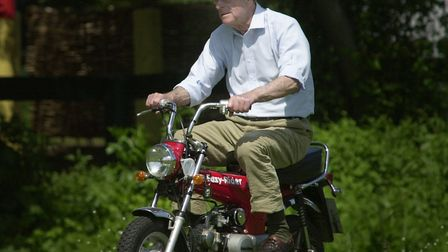 The Duke of Edinburgh riding a mini motorbike around the Royal Windsor Horse Show in 2002 Picture: S