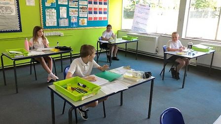 Year six pupils back in the classroom at St Williams Primary in Thorpe St Andrew. Picture: Sarah Shi