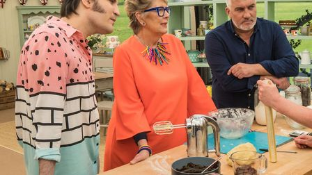 Prue Leith with Noel Fielding (left) and Paul Hollywood on The Great British Bake Off. Picture: PA