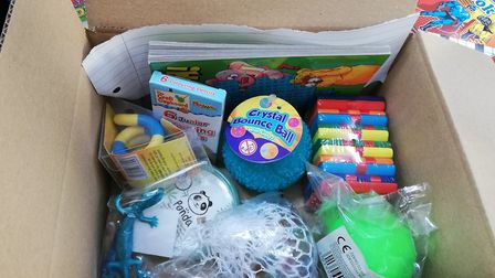 The lockdown box which will is being given to families across Norfolk who have children with special