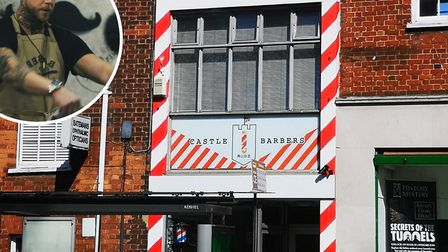 Nathan Pizzey (inset) owner of Castle Barbershop is planning to reopen next month. Picture: Castle B