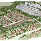 Plans for the site's expansion. A sketch of the residential homes. Photo: Bidwells/Crisp Maltings