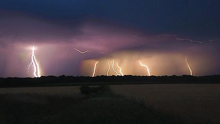 Lightning captured over Thetford in 2019. Picture: Daniel Opera