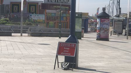 Great Yarmouth seafront was quiet on a sunny Saturday, June 13. There were dog walkers and small gro