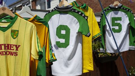 Billy Pointer has collected around 450 Norwich City shirts. Picture: KATE WOLSTENHOLME