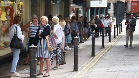 The queue as Jarrold in Norwich reopens after lockdown restrictions are eased. Picture: DENISE BRADL