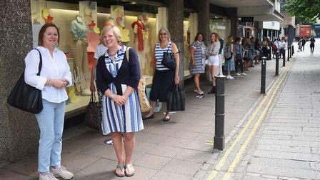 The queue as Jarrold reopens after lockdown restrictions are eased. Picture: DENISE BRADLEY