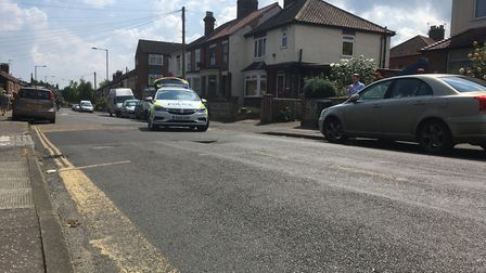 A fresh sinkhole has opened up on Angel Road in Norwich. Picture: Clarissa Place