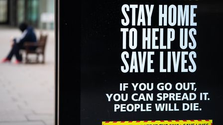 A coronavirus awareness sign on a bus stop. Picture: PA Images