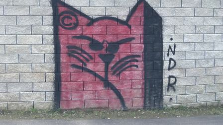 The cats of the NDR, graffiti cats are adorned on the bridges of the NDR.