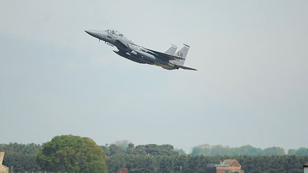 An F-15 fighter jet from RAF Lakenheath has crashed into the North Sea. Picture: Archant
