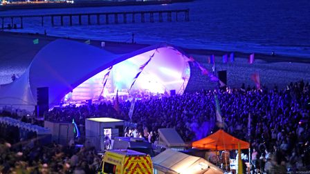 The First Light Festival in Lowestoft as captured at night. Picture: Mick Howes