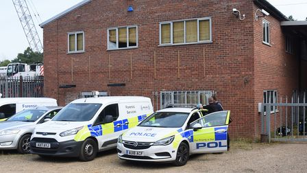 Police at a cannabis factory found on an industrial estate in Lenwade. Picture: DENISE BRADLEY