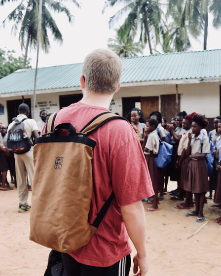 Distributing the matched bags to schoolchildren in Kenya Picture: One Bag Co.